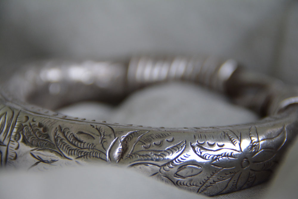 Antic Lao Hmong silver carved bangle - Picture credit Sophie