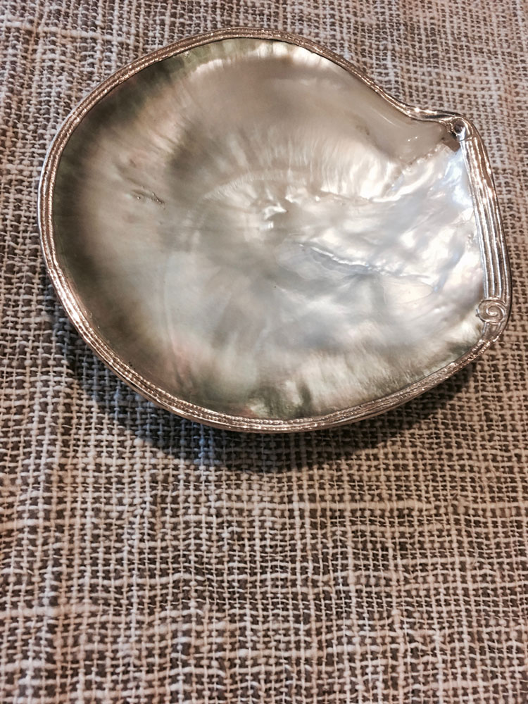 home handicraft home decoration laos mother of pearl silver tray display on hand made lao cotton